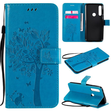 Embossing Butterfly Tree Leather Wallet Case for Motorola Moto G Power - Blue