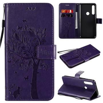 Embossing Butterfly Tree Leather Wallet Case for Motorola Moto G Power - Purple