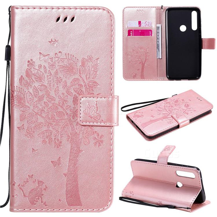 Embossing Butterfly Tree Leather Wallet Case for Motorola Moto G Power - Rose Pink