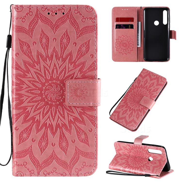 Embossing Sunflower Leather Wallet Case for Motorola Moto G Power - Pink