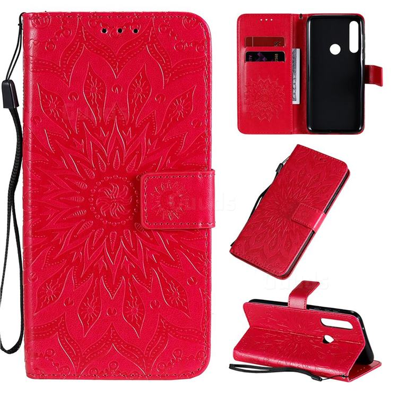 Embossing Sunflower Leather Wallet Case for Motorola Moto G Power - Red