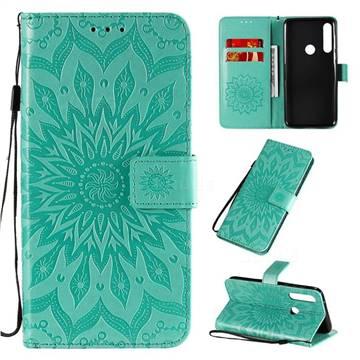 Embossing Sunflower Leather Wallet Case for Motorola Moto G Power - Green