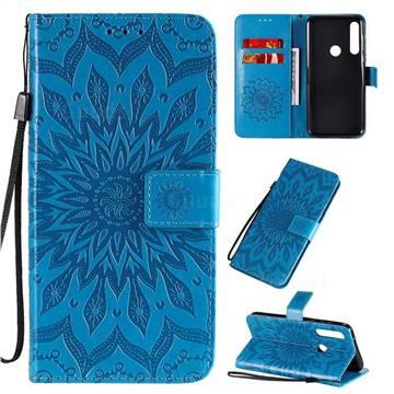 Embossing Sunflower Leather Wallet Case for Motorola Moto G Power - Blue