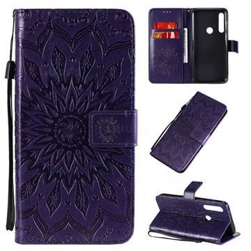 Embossing Sunflower Leather Wallet Case for Motorola Moto G Power - Purple