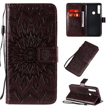 Embossing Sunflower Leather Wallet Case for Motorola Moto G Power - Brown