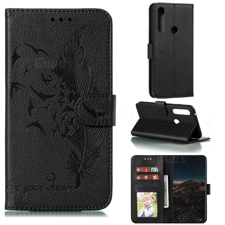Intricate Embossing Lychee Feather Bird Leather Wallet Case for Motorola Moto G Power 2020 - Black
