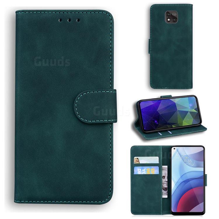 Retro Classic Skin Feel Leather Wallet Phone Case for Motorola Moto G Power 2021 - Green