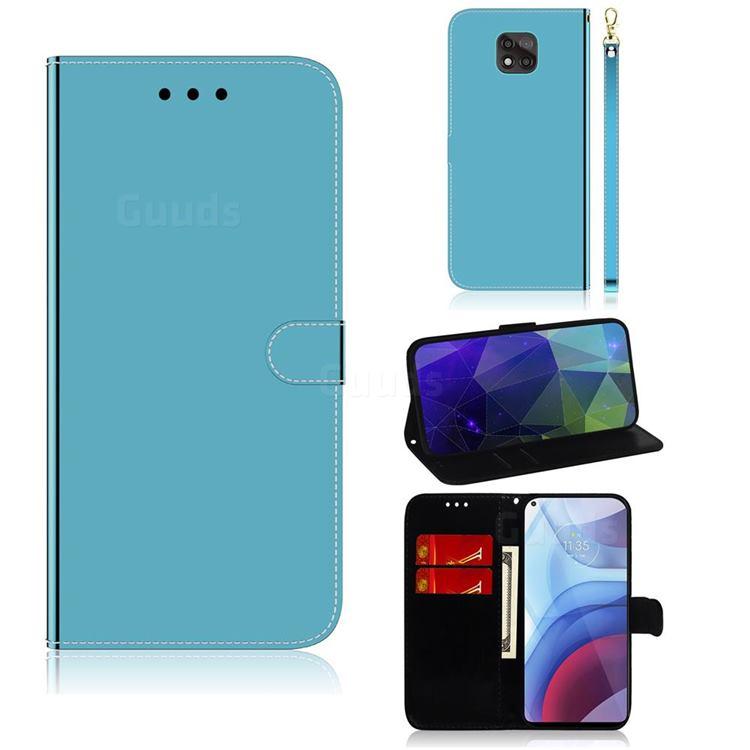 Shining Mirror Like Surface Leather Wallet Case for Motorola Moto G Power 2021 - Blue