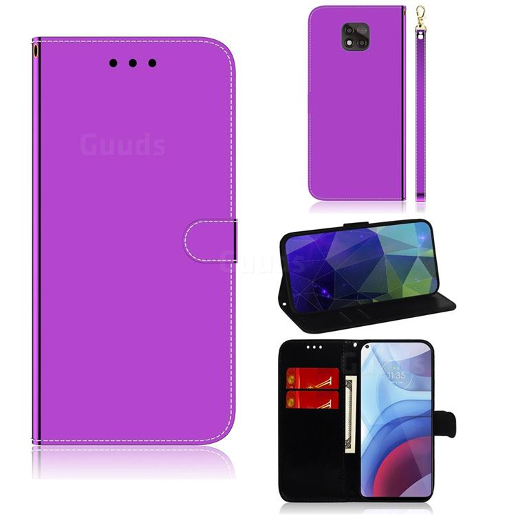 Shining Mirror Like Surface Leather Wallet Case for Motorola Moto G Power 2021 - Purple