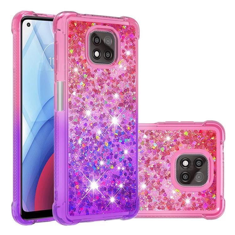 Rainbow Gradient Liquid Glitter Quicksand Sequins Phone Case for Motorola Moto G Power 2021 - Pink Purple