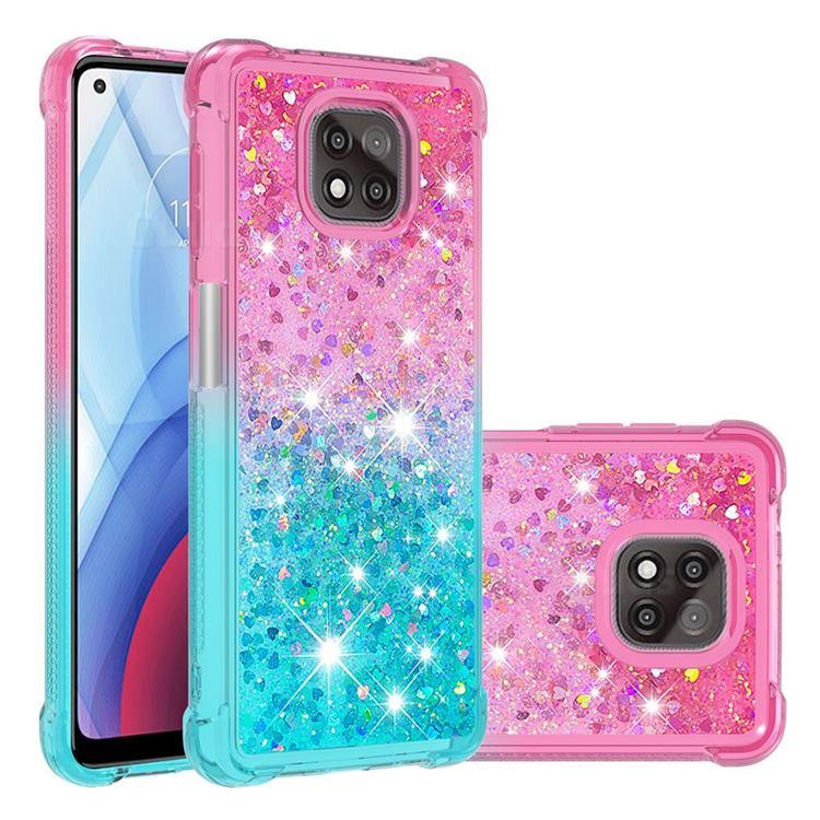 Rainbow Gradient Liquid Glitter Quicksand Sequins Phone Case for Motorola Moto G Power 2021 - Pink Blue