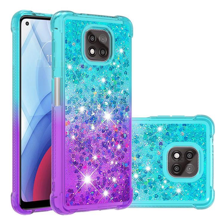 Rainbow Gradient Liquid Glitter Quicksand Sequins Phone Case for Motorola Moto G Power 2021 - Blue Purple