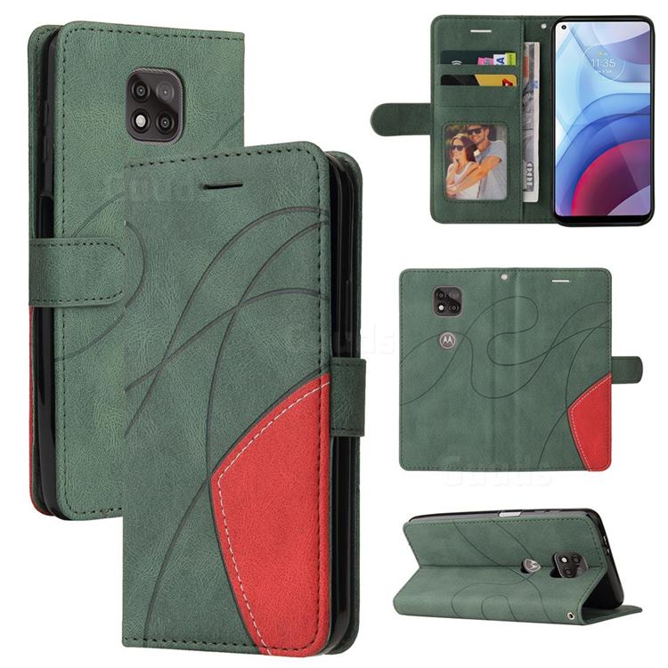 Luxury Two-color Stitching Leather Wallet Case Cover for Motorola Moto G Power 2021 - Green