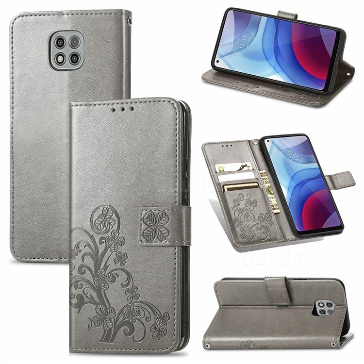 Embossing Imprint Four-Leaf Clover Leather Wallet Case for Motorola Moto G Power 2021 - Grey