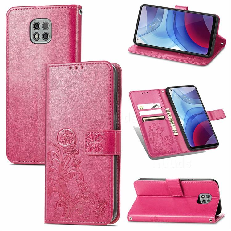 Embossing Imprint Four-Leaf Clover Leather Wallet Case for Motorola Moto G Power 2021 - Rose Red