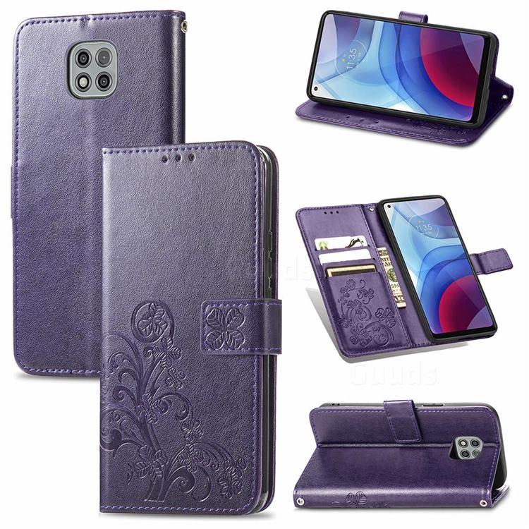 Embossing Imprint Four-Leaf Clover Leather Wallet Case for Motorola Moto G Power 2021 - Purple