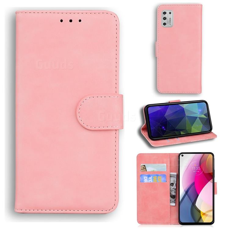 Retro Classic Skin Feel Leather Wallet Phone Case for Motorola Moto G Stylus 2021 - Pink