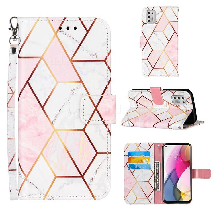 Pink White Stitching Color Marble Leather Wallet Case for Motorola Moto G Stylus 2021