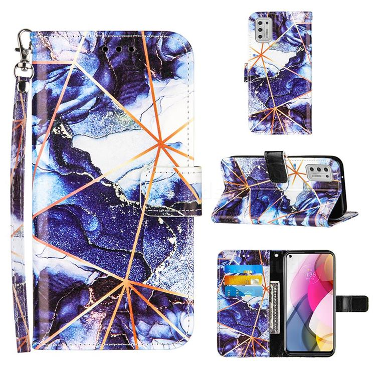 Starry Blue Stitching Color Marble Leather Wallet Case for Motorola Moto G Stylus 2021