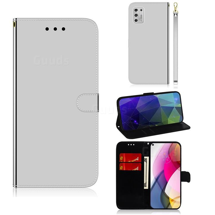Shining Mirror Like Surface Leather Wallet Case for Motorola Moto G Stylus 2021 - Silver