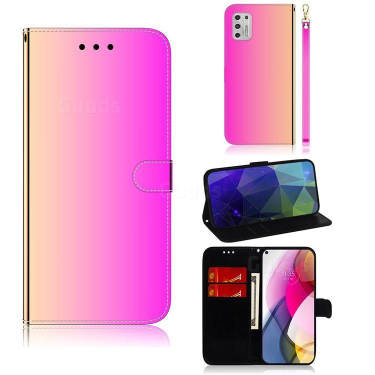 Shining Mirror Like Surface Leather Wallet Case for Motorola Moto G Stylus 2021 - Rainbow Gradient