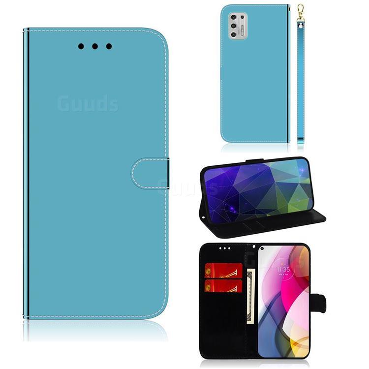 Shining Mirror Like Surface Leather Wallet Case for Motorola Moto G Stylus 2021 - Blue
