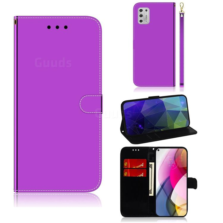 Shining Mirror Like Surface Leather Wallet Case for Motorola Moto G Stylus 2021 - Purple