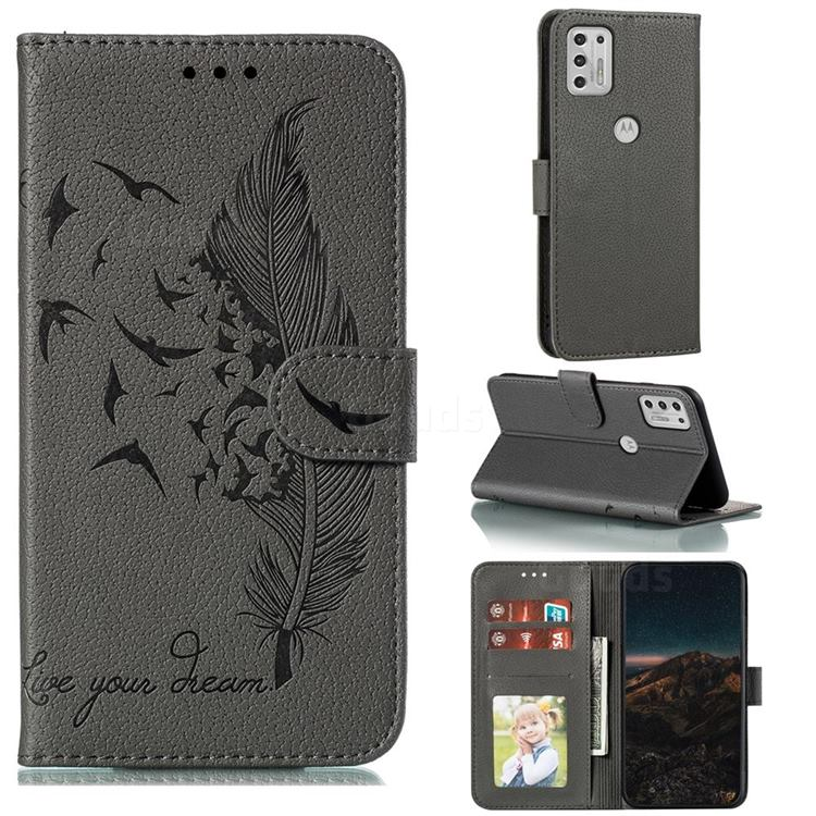 Intricate Embossing Lychee Feather Bird Leather Wallet Case for Motorola Moto G Stylus 2021 - Gray
