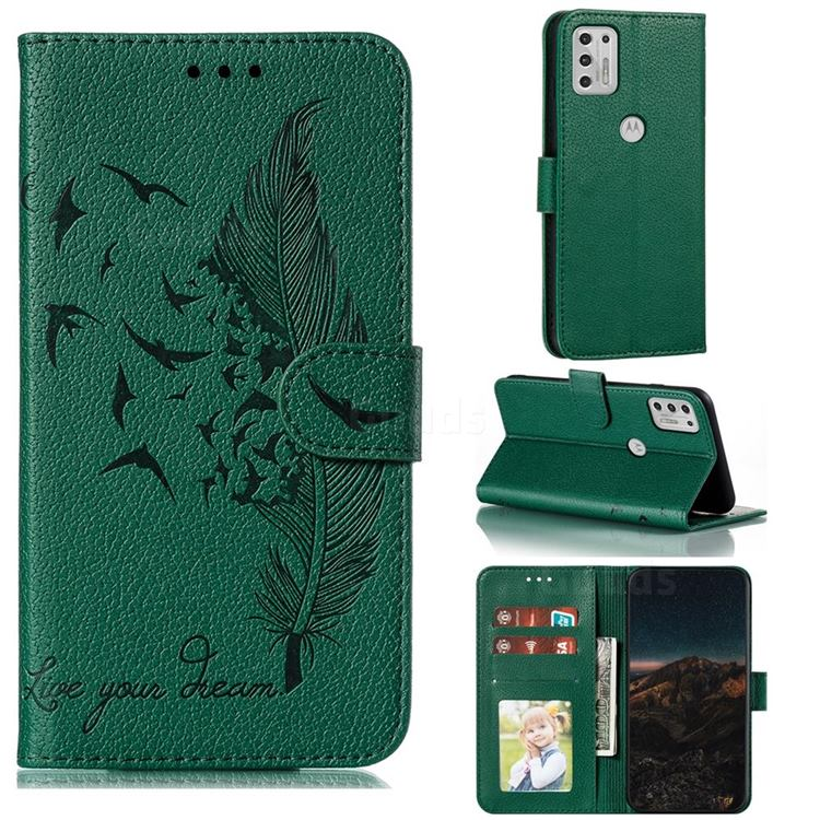 Intricate Embossing Lychee Feather Bird Leather Wallet Case for Motorola Moto G Stylus 2021 - Green