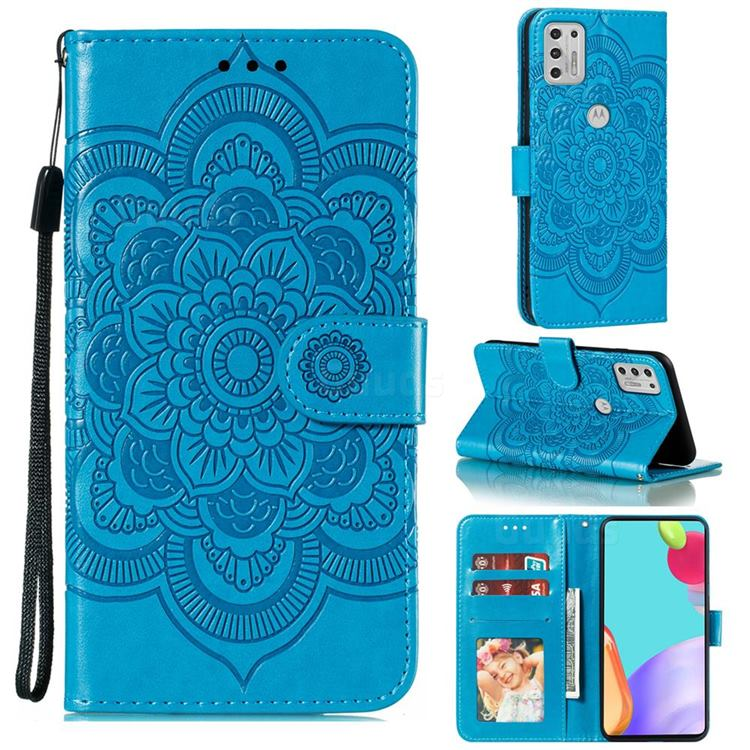 Intricate Embossing Datura Solar Leather Wallet Case for Motorola Moto G Stylus 2021 - Blue