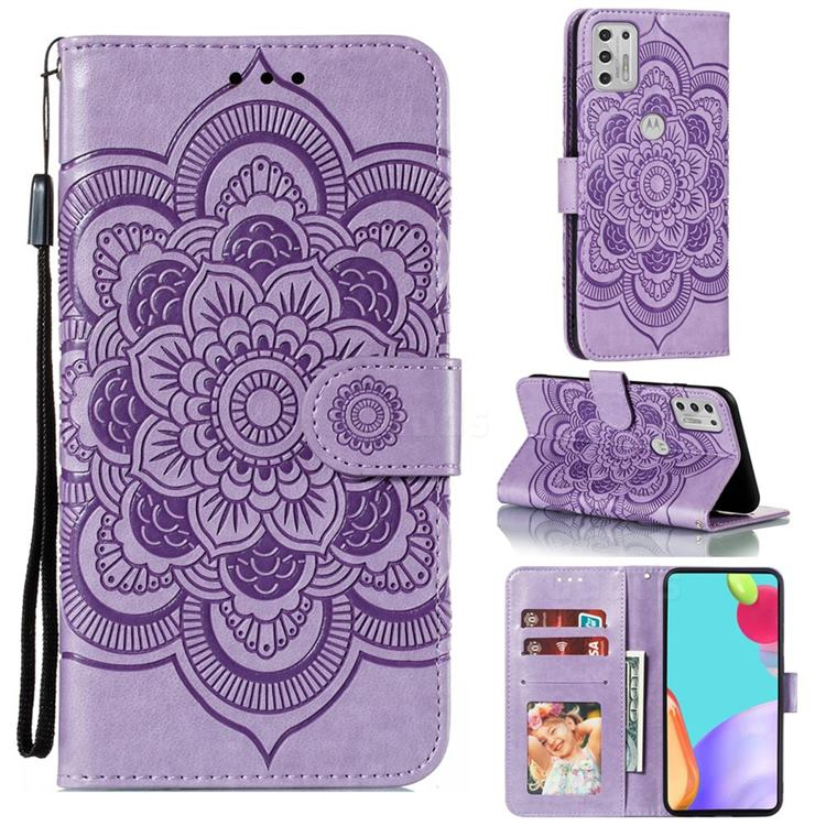 Intricate Embossing Datura Solar Leather Wallet Case for Motorola Moto G Stylus 2021 - Purple