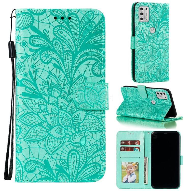 Intricate Embossing Lace Jasmine Flower Leather Wallet Case for Motorola Moto G Stylus 2021 - Green