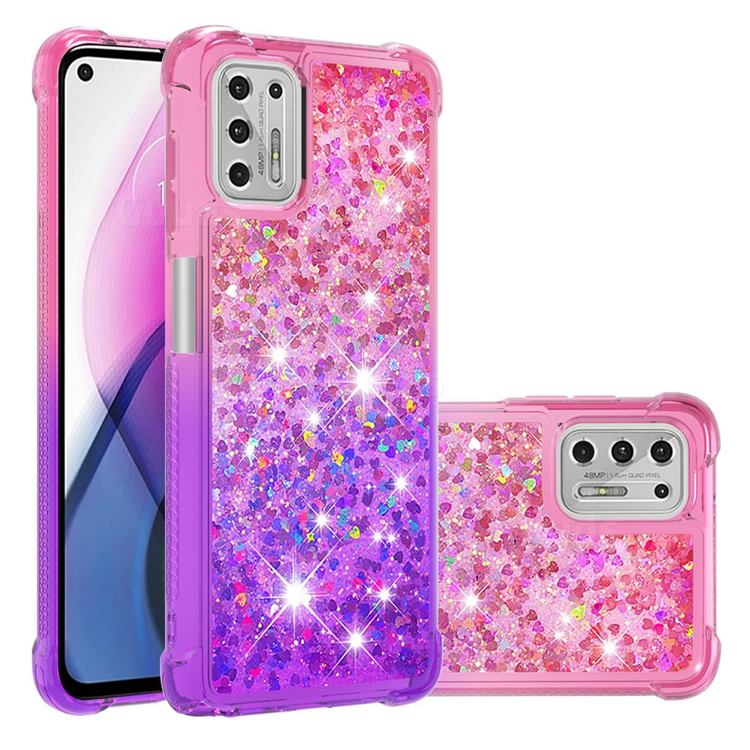 Rainbow Gradient Liquid Glitter Quicksand Sequins Phone Case for Motorola Moto G Stylus 2021 - Pink Purple