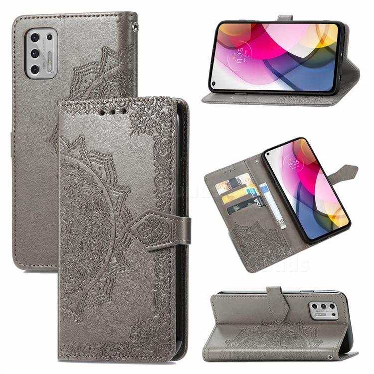 Embossing Imprint Mandala Flower Leather Wallet Case for Motorola Moto G Stylus 2021 4G - Gray