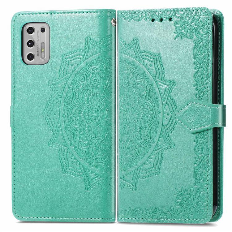 Embossing Imprint Mandala Flower Leather Wallet Case for Motorola Moto G Stylus 2021 4G - Green