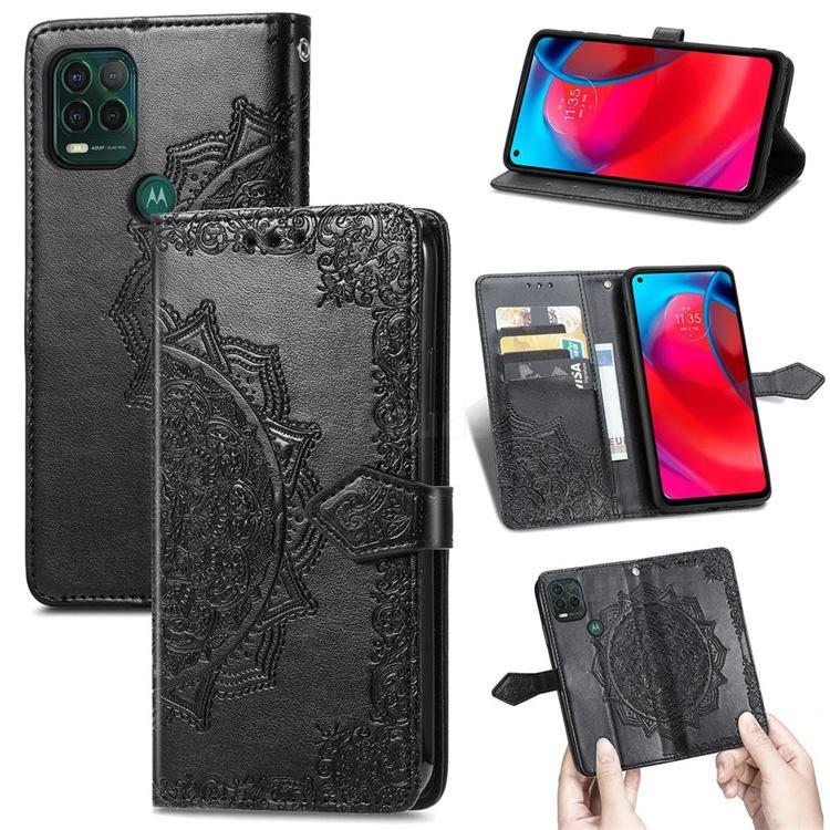 Embossing Imprint Mandala Flower Leather Wallet Case for Motorola Moto G Stylus 2021 5G - Black