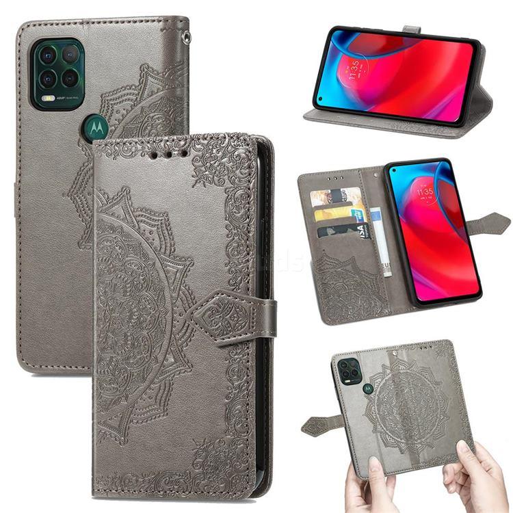Embossing Imprint Mandala Flower Leather Wallet Case for Motorola Moto G Stylus 2021 5G - Gray