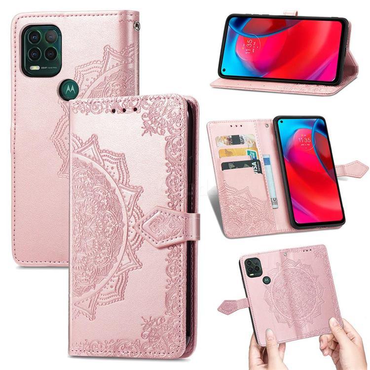 Embossing Imprint Mandala Flower Leather Wallet Case for Motorola Moto G Stylus 2021 5G - Rose Gold