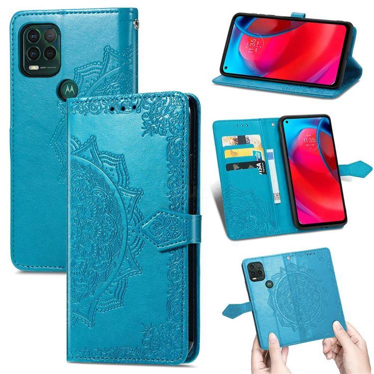 Embossing Imprint Mandala Flower Leather Wallet Case for Motorola Moto G Stylus 2021 5G - Blue