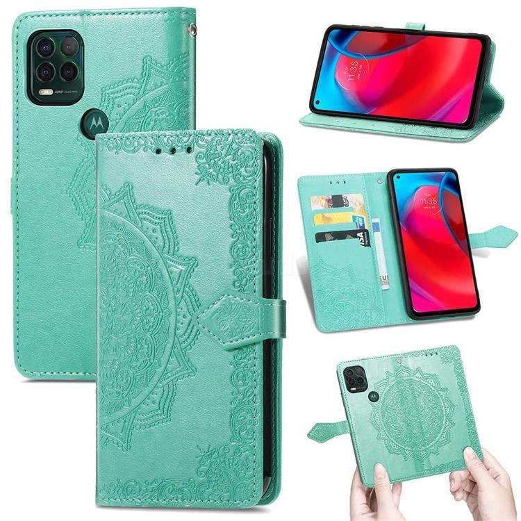 Embossing Imprint Mandala Flower Leather Wallet Case for Motorola Moto G Stylus 2021 5G - Green