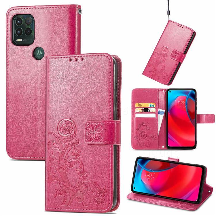 Embossing Imprint Four-Leaf Clover Leather Wallet Case for Motorola Moto G Stylus 2021 5G - Rose Red