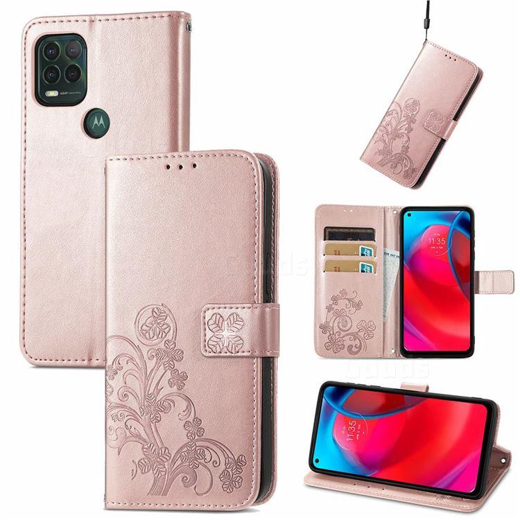 Embossing Imprint Four-Leaf Clover Leather Wallet Case for Motorola Moto G Stylus 2021 5G - Rose Gold