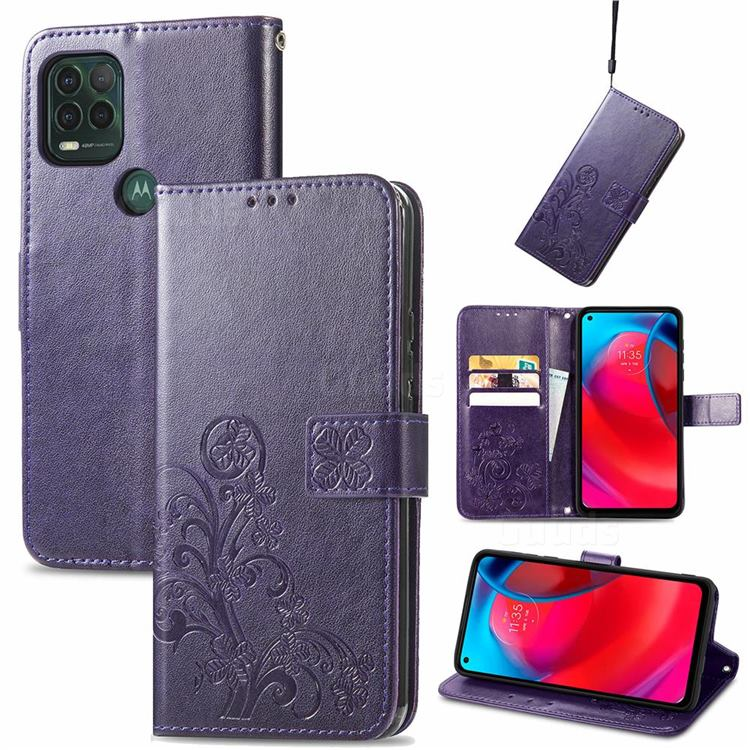 Embossing Imprint Four-Leaf Clover Leather Wallet Case for Motorola Moto G Stylus 2021 5G - Purple