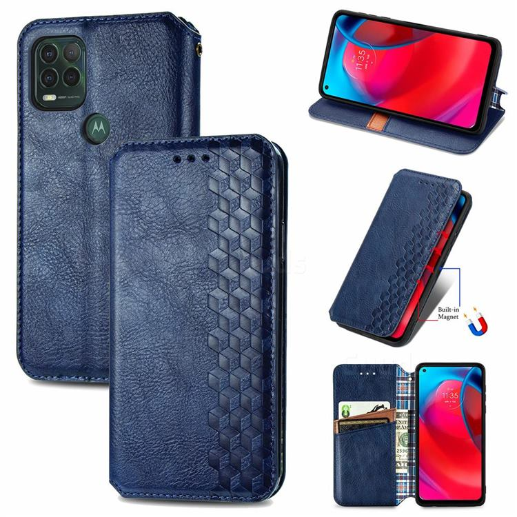 Ultra Slim Fashion Business Card Magnetic Automatic Suction Leather Flip Cover for Motorola Moto G Stylus 2021 5G - Dark Blue