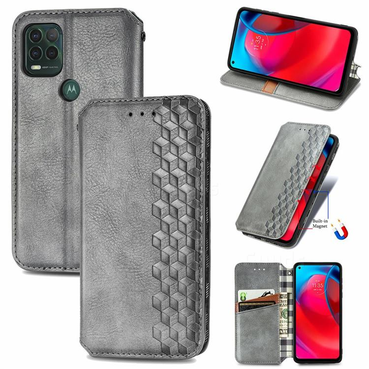 Ultra Slim Fashion Business Card Magnetic Automatic Suction Leather Flip Cover for Motorola Moto G Stylus 2021 5G - Grey