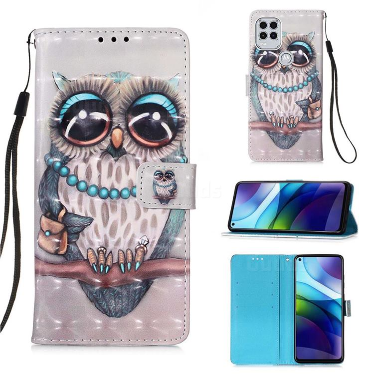 Sweet Gray Owl 3D Painted Leather Wallet Case for Motorola Moto G Stylus 2021 5G