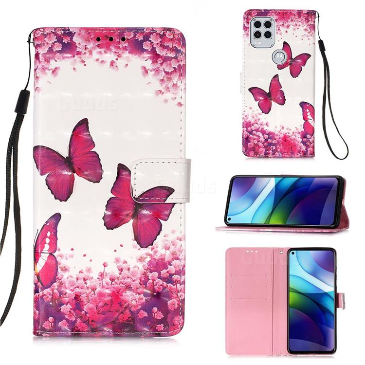 Rose Butterfly 3D Painted Leather Wallet Case for Motorola Moto G Stylus 2021 5G