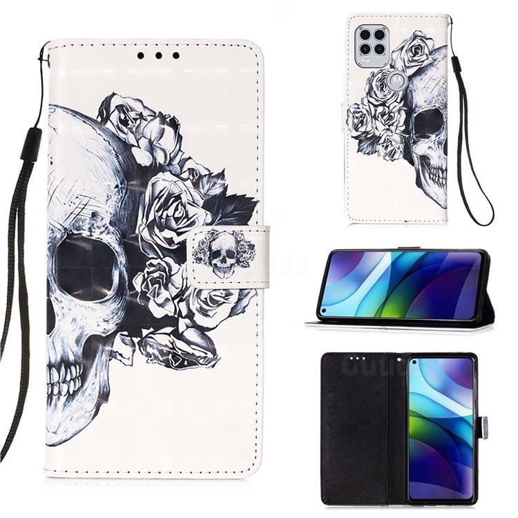 Skull Flower 3D Painted Leather Wallet Case for Motorola Moto G Stylus 2021 5G