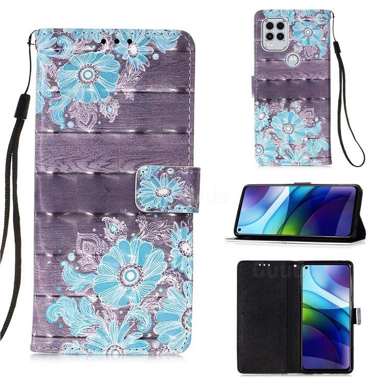 Blue Flower 3D Painted Leather Wallet Case for Motorola Moto G Stylus 2021 5G
