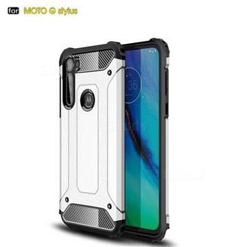 King Kong Armor Premium Shockproof Dual Layer Rugged Hard Cover for Motorola Moto G Stylus - White